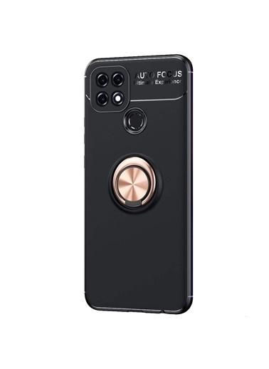 Microsonic Oppo A15S Kılıf Kickstand Ring Holder Kırmızı Siyah